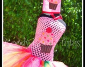 RAINBOW FROSTED CUPCAKE Crocheted Tutu Dress with Matching Cupcake Crown - Small 12/18mos