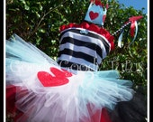 WONDERLAND SWEETHEART Queen of Hearts Inspired Tutu Set with BLUE Accents