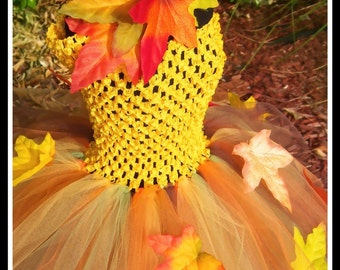 AUTUMN HARVEST PRINCESS Crocheted Tutu Dress with Fall Leaves and Matching Headband - Small 12/18mos