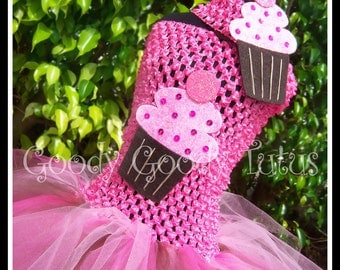 CHOCOLATE FROSTED CUPCAKE Pink Fluffy Tutu Dress with Glittery Cupcake & Matching Headpiece