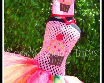 RAINBOW FROSTED CUPCAKE Crocheted Tutu Dress with Matching Cupcake Crown