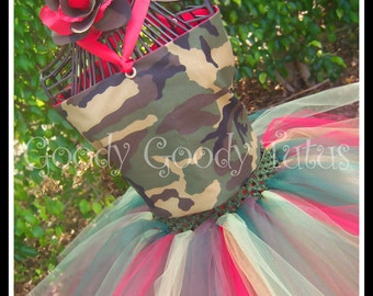 CAMO SWEETHEART Camoflauge Tutu and Corseted Top with Matching Fabric Flowered Headband with Touches of Red