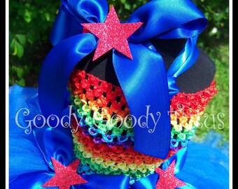 RAINBOW DOLL Rainbow Brite Inspired Tutu Dress with Hair Clip and Leg Warmers - Small 12/18mos
