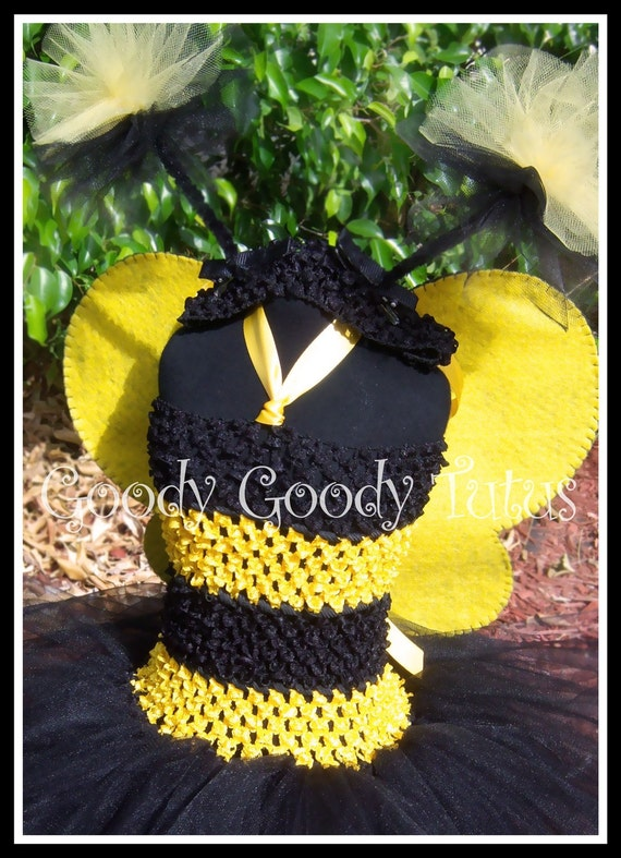 MY BABY BUMBLEBEE Black and Yellow Striped Crocheted Tutu Dress with Glittery Wings and Antennae - Small 12/18mos
