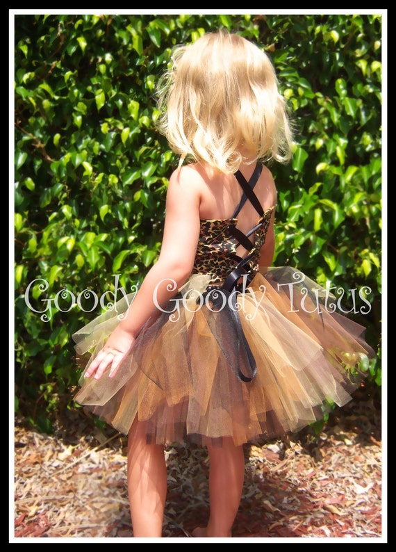 MISS KITTY KAT Tutu Set with Leopard Print Corseted Top and Matching Felt Ear Clippies