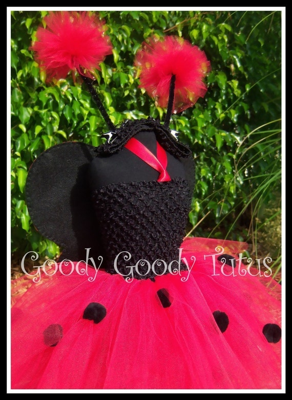 LUCK BE A LADYBUG Crocheted Tutu Dress with Red and Black Polka Dot Wings and Antennae