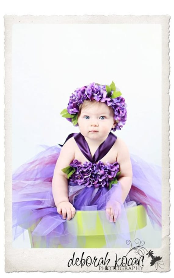 LILAC BLOOMS Hydrangea Petal Tutu Dress in Shades of Purple with Matching Flowered Headband