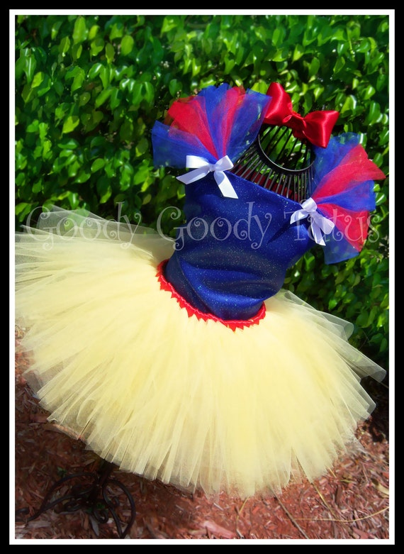 FAIREST OF ALL Snow White Inspired Tutu & Corset Top Set and Matching Bow Headband
