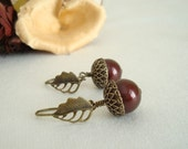 Luxe Acorns Earrings - Brass and Chocolate