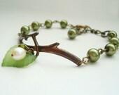 Free Shipping - Olive Twig Bracelet in Brass