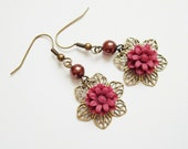 Free Shipping - Spring Petals Earrings - Chocolate and Crimson