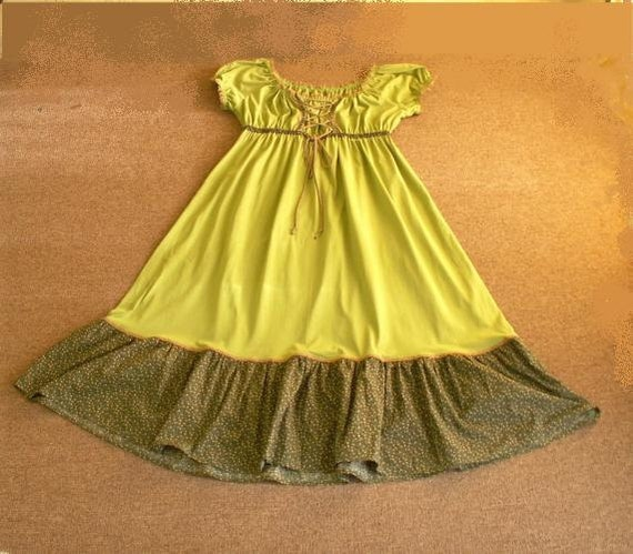 Empire Dress, Woodland Greens,  Goddess size