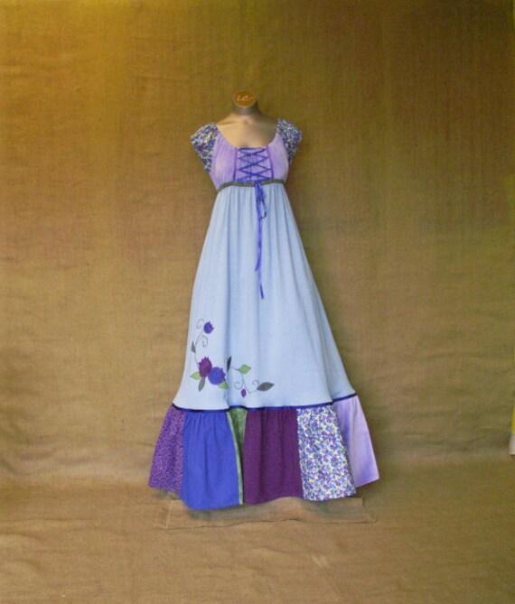 Blueberry Dress, Empire Dress, Patchwork Dress
