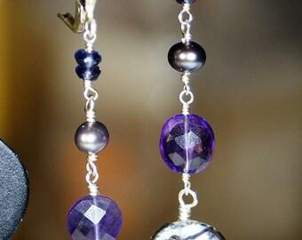 Long Iolite Pearl Amethyst and Coin Pearl Earrings