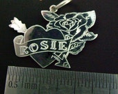 Tattoo Design Personalised Rose and Scroll Solid Sterling Silver  Pendant  .Any Name