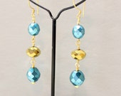 "Rosary Style - Earrings - Faceted - Gold and dark Ocean Blue  - Czech Glass -  2"" Dangle - 24 kt Gold Vermeil French Earwire - Ref E6"