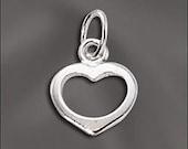 Silver Filled Charm Open Heart Dangle 5 pcs. SF-120