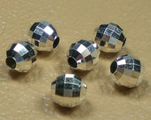 Round Mirror Spacer Beads 5mm Sterling Silver Bead 12 pcs S-137 (12)