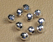 4mm Sterling Silver Mirror Beads Round 12 pcs S-136