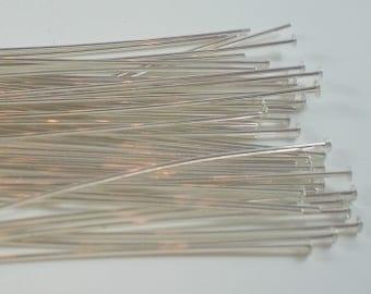 2'' Flat End Head Pin 22 Gauge Sterling Silver Headpin 20 pcs. HP-101