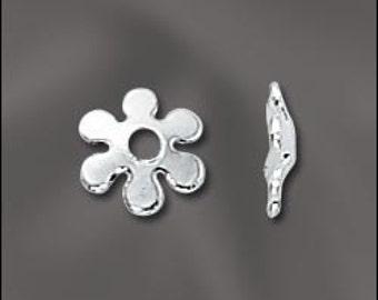Adorable Flower Bead Caps Sterling Silver 6mm 12 pcs EC-124