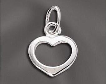Silver Filled Open Heart Charm 8 pcs SF-120 (8)