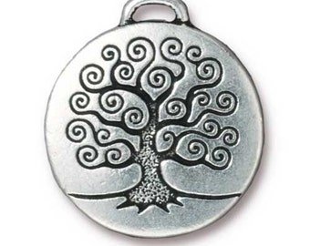 Tree Of Life Pendants Antiqued Fine Silver  or Copper Finish TierraCast 2 pcs. 94-2304