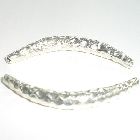 35mm Hill Tribe Curved Hammered Tubes Fine Silver 2 pcs. HT-131
