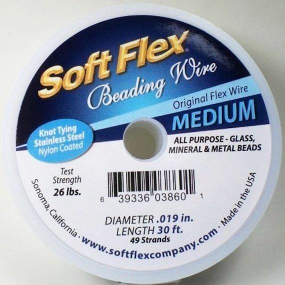 Soft Flex 49 Strand 019 Nylon Coated Steel Beading Wire Medium 30 Feet