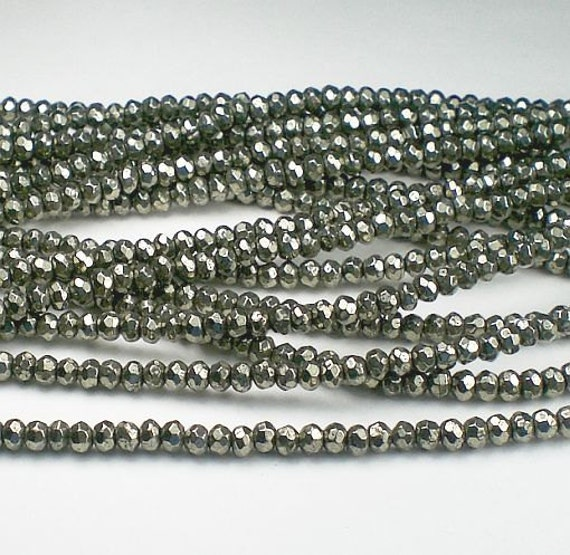 Tiny Pyrite Beads Faceted Rondelles 3mm 1/2 Strand