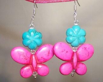 Hot Pink Turquoise Butterfly & Flower Earrings