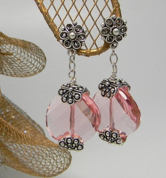 Pink Swarovski Crystal Wave Earrings