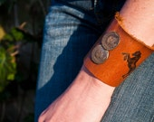 Rearing Horses and Antique Coins Custom Leather Heirloom Cuff RESERVED for Lindy