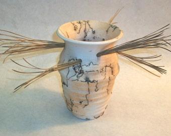 Horsehair Raku Vase with Pine Needles