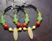 RESERVED VBlesssed Rasta color, dangle hoop, earrings, Green quartz, jade, MOP,  red  coral,  stone, Sista Luv