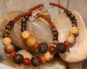 Dangle Hoops -  Carnelian - Red Jasper - Golden Jade - Golden Edges