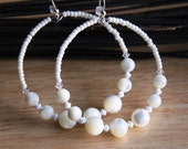 Hoop earrings Mother of pearl Swarovksi Crystals  PURE ASPIRATIONS