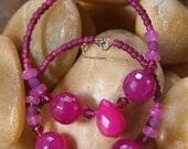 Hoops - Fuchsia Pops -  Stone Earrings,    Fuchsia ,   Raspberry Quartz