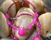 Stone Hoop earrings Raspberry Color  Quartz - I LOVE RASPBERRIES