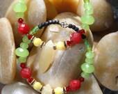 Rasta In Me  Hoop  Earrings  - Green Quartz, Jade  Serpentine,  Swarovski Crystals