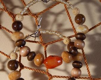 Hoops -  Sunstone - Yellow Jasper stones- Earrings -  ONE PUMPKIN