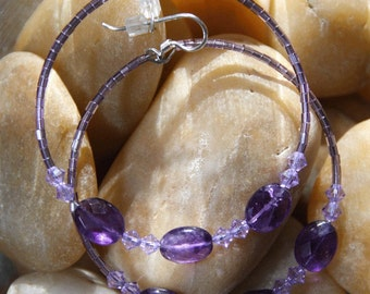 Hoop Earrings Amethyst stones PURPLE PROJECT