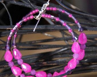 Hoop Earrings fuchsia  quartz stones TEARDROPS  N     RASPBERRIES