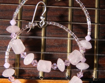 "Hoop Rose quartz stone    Earrings   Light Touch  Of  Pink   2"" W  x  2"" 1/2 L"
