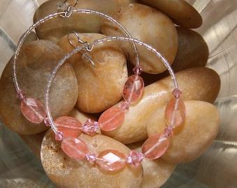 Cherry Rose quartz glass Hoop earrings   Oh So Glamorous