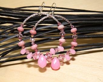 Pink Quartz Stone Dangle Hoop earrings-   VIBRATIONS OF PINK