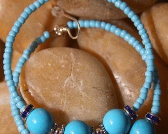 Hoop Earrings TURQUOISE Stone,  Sterling Silver, Swarvoski Crystals, Palm Beach Gal