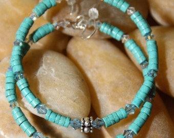 Hoops  -   Turquoise Stones Colors Of  The Ocean  Earrings