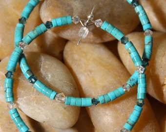 Hoops Turquoise Stone  -  Swarovski Crystal  Fool  For  Turquoise  Earrings