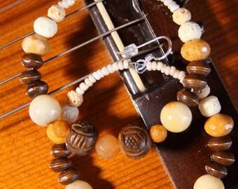 Earrings, Organic Looks, Dangle hoops,   Earth tone colors